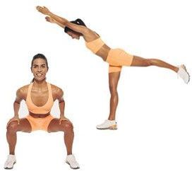 Squat with Kick-Back glute exercises workout for women